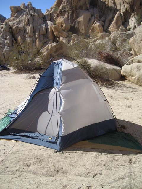 tent under severe wind stress; calm struck around midnight