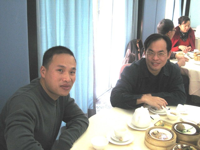 morning tea, 5 Jan 2008: Hu Gang & Mr. C., '87 class
