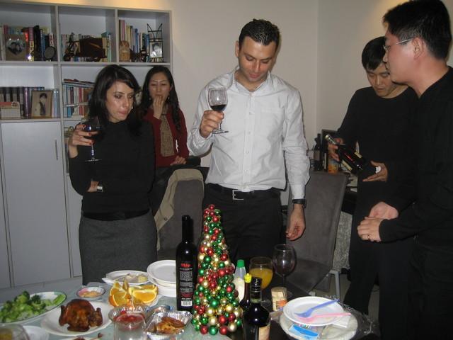 plenty of food & drink (bottles of Israeli wine, bottle of Cognac)