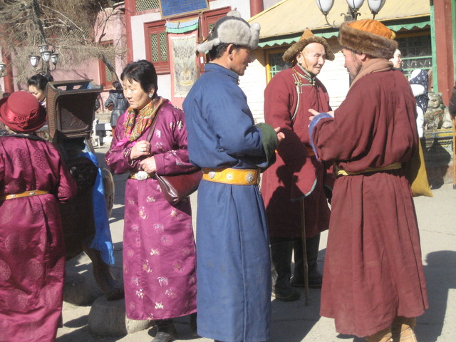 dressed in Sunday best for a visit to the monastery